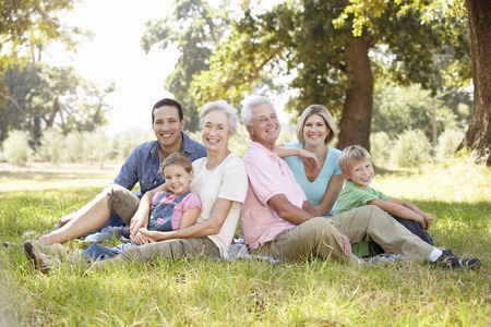Three generation family in the country photo