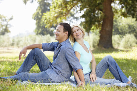 happily: Couple in the country Stock Photo
