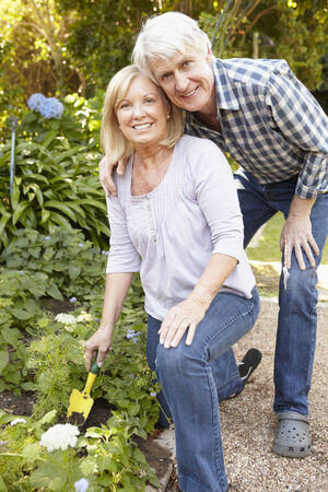 weeding: Senior couple gardening Stock Photo