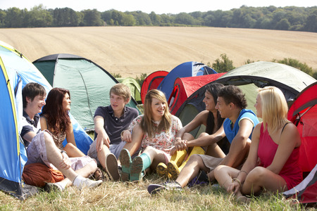 early summer: Young people on camping trip