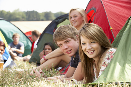 Young people on camping trip photo
