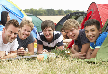 late teens: Young people on camping trip