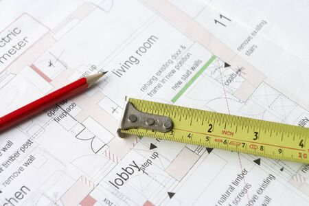 Close up house plans Stock Photo