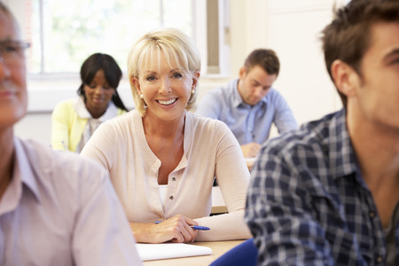 college students: Senior student in class Stock Photo