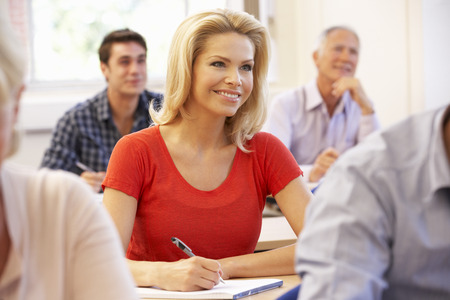qualifications: Student in class Stock Photo