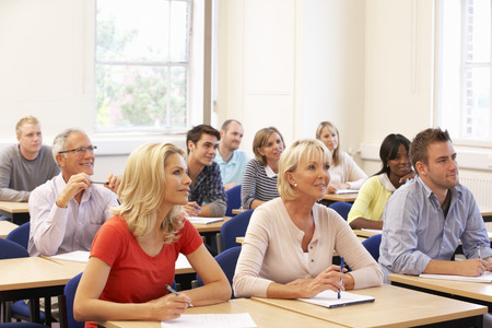 higher learning: Mixed group of students in class