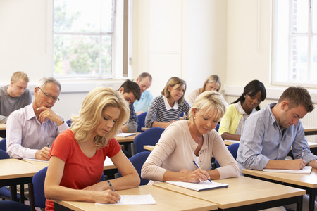 Mixed group of students in class photo