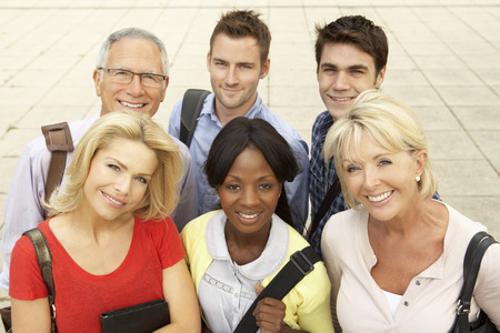 6 people: Mixed group of students outside college Stock Photo