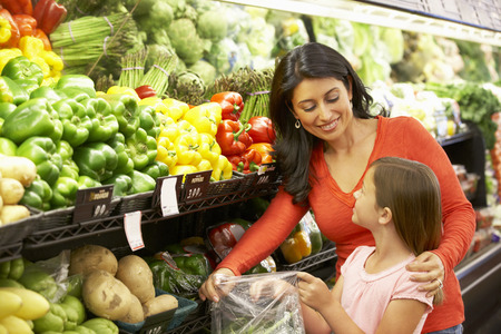 family budget: Mother and daughter shopping in supermarket