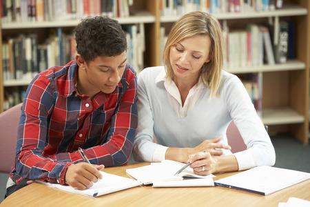 College tutor with student Foto de archivo