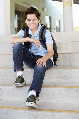 pre teen boy: Pre teen boy at school