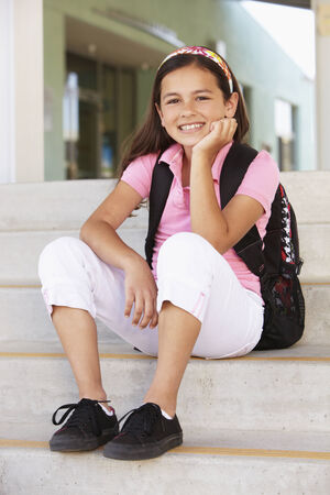 10 year old: Pre teen girl at school Stock Photo