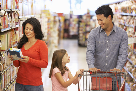 shopping cart: Family shopping in supermarket