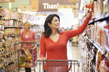 family budget: Women shopping in supermarket Stock Photo