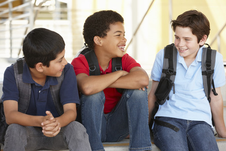 classmates: Pre teen boys in school
