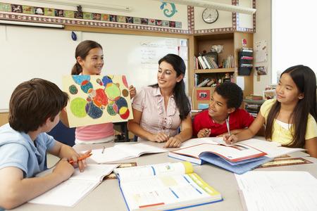 informal clothing: Teacher and schoolchildren in class