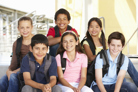 school friends: Pre teen children in school