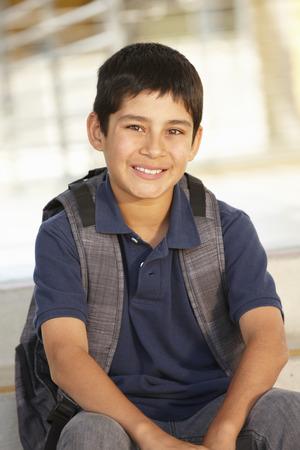 pre teen boy: Pre teen boy in school Stock Photo