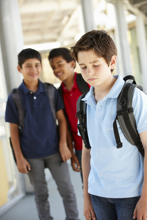 bully: Boy being bullied in school