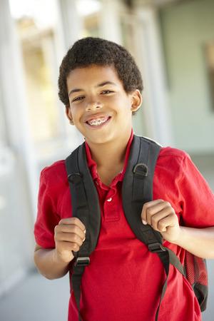 学校で事前に十代の少年 写真素材