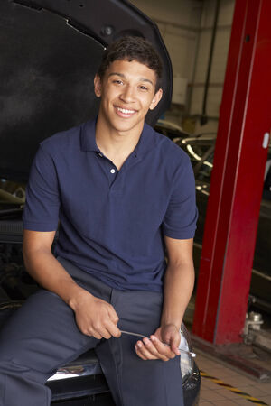 Young mechanic at work photo