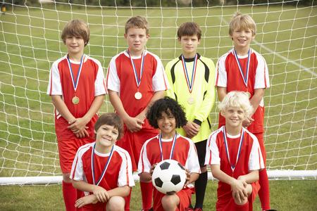 junior soccer: Winning junior soccer team portrait