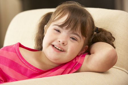 downs syndrome: 6 year old girl with Downs Syndrome