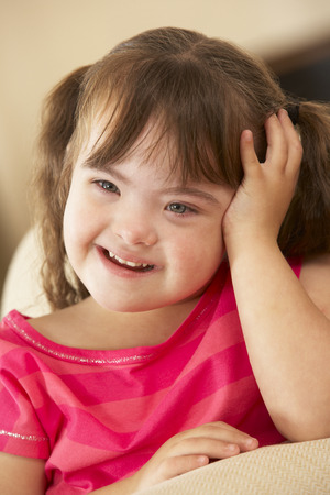 down's syndrome: 6 year old girl with Downs Syndrome