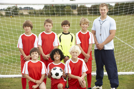 wallingford: Junior soccer team and coach portrait
