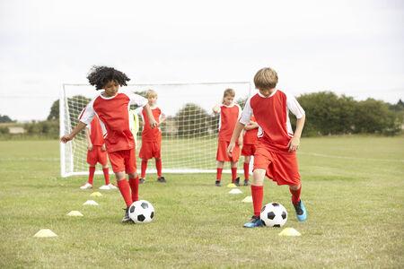 junior soccer: Junior soccer team in training