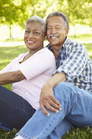 Senior  couple portrait outdoors Imagens
