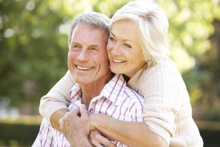 happy wedding: Senior couple outdoors Stock Photo