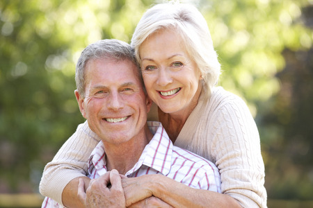 outside of the country: Senior couple outdoors Stock Photo