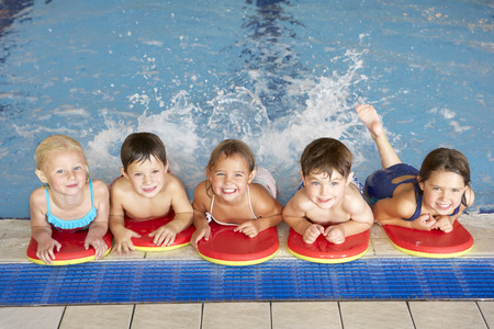 sled: Children in swimming pool