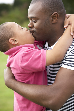 downs syndrome: Father with Downs Syndrome son
