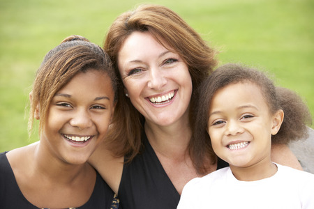 mixed race: Mother and mixed race daughters