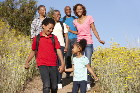 family exercise: Multi-generation  family on country hike