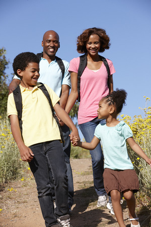 Family on country hike photo