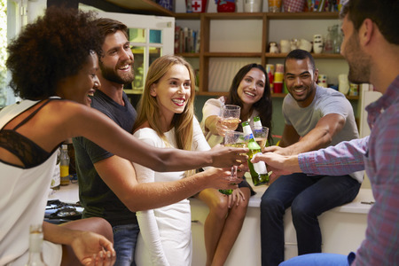 african american couple: Group Of Friends Enjoying Drinks Party At Home