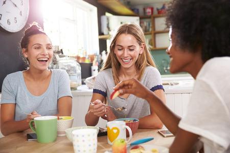 Tres amigos femeninos que gozan del desayuno en el país junto