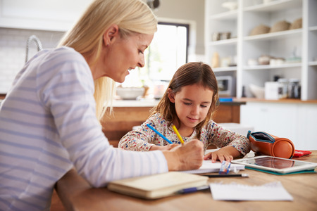 home schooling: Mother teaching her daughter at home