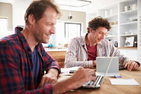 two people only: Small business partners using computers at home Stock Photo