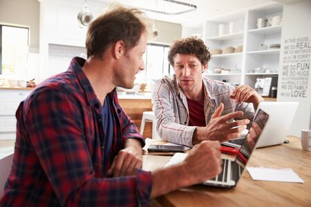 home business: Small business partners using computers at home Stock Photo