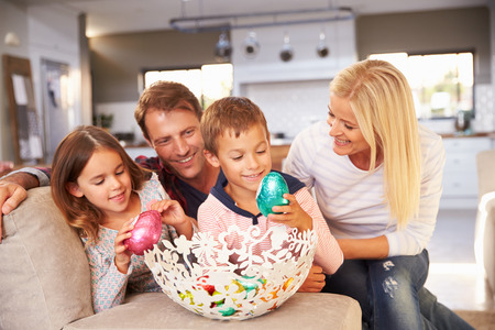 middle easter: Family celebrating Easter at home Stock Photo