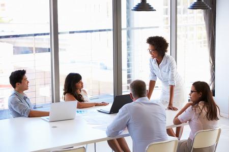 personas de pie: Empresaria que presenta a sus colegas en una reuni�n Foto de archivo