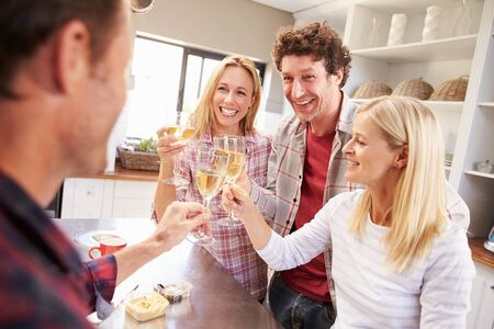 Four friends celebrating at home photo