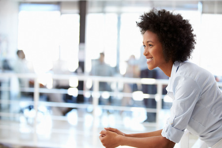 mujer alegre: Retrato de mujer sonriente en la oficina, vista lateral Foto de archivo