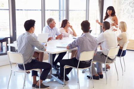 medium length: Businesswoman presenting to colleagues at a meeting