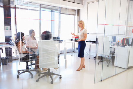 Businesswoman presenting meeting in an office Banque d'images