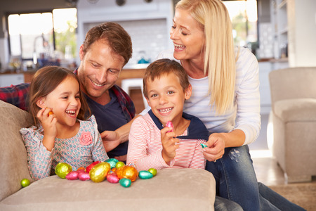 Family celebrating Easter at home Stock Photo